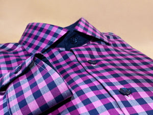 Purple & Navy Checks Egyptian Cotton