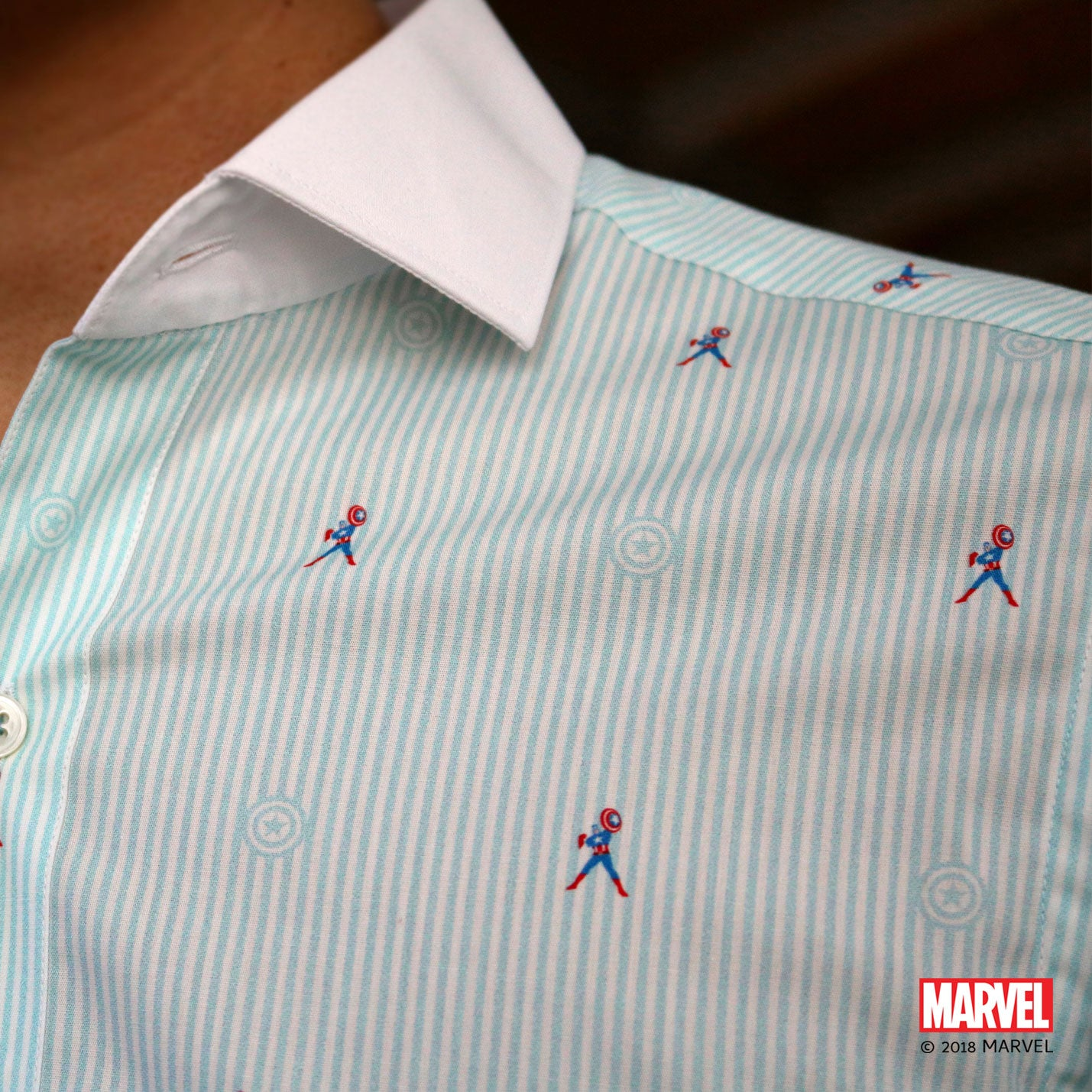 Marvel/CYC Captain America Blue Stripes Short Sleeve Shirt