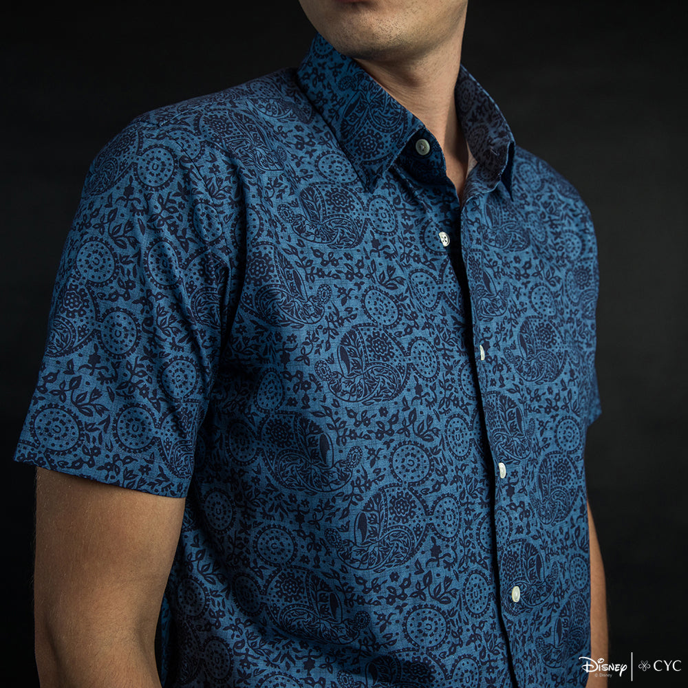 Disney x CYC Batik Blue Mickey Short Sleeve Shirt Close Up