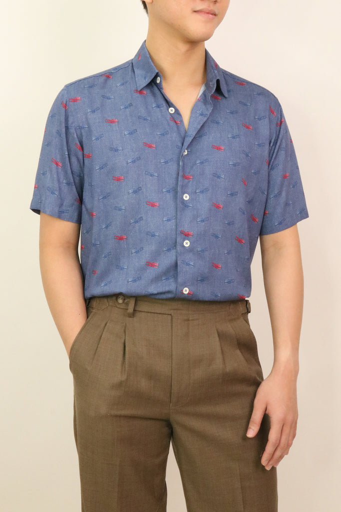 Flying_Sky_Blue_Viscose_Short_Sleeve_Shirt_Front