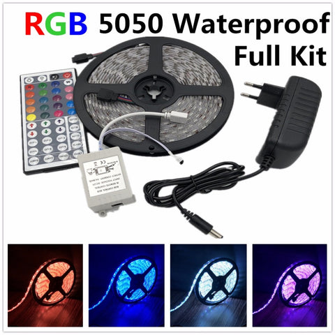 Excellent..! led strip light 5050 RGB tape set waterproof ip65 300led 5m with 44key remote controller 12V power supply adapter color changing