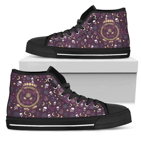 Black Cat Skull Sublimation Canvas Shoes