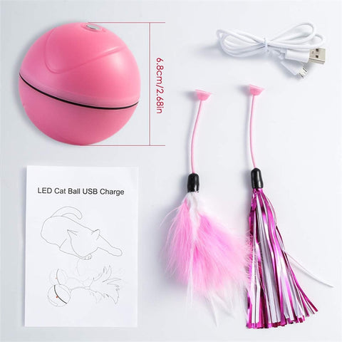 Roller Pet Toy Ball With Laser, Feather