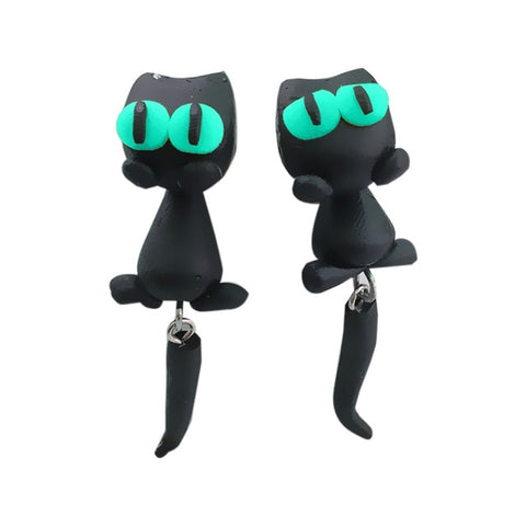Polymer Clay 3D Black Cat Earrings
