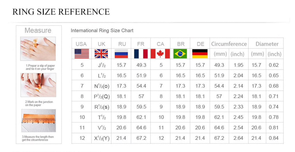 Lady Diana Ring - Measurements Chart