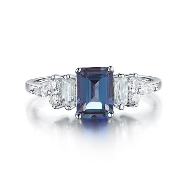 1.2ct Emerald Cut Alexandrite Gemstone Ring | Solid 925 Sterling Silver Ring - DÉCOR RARO