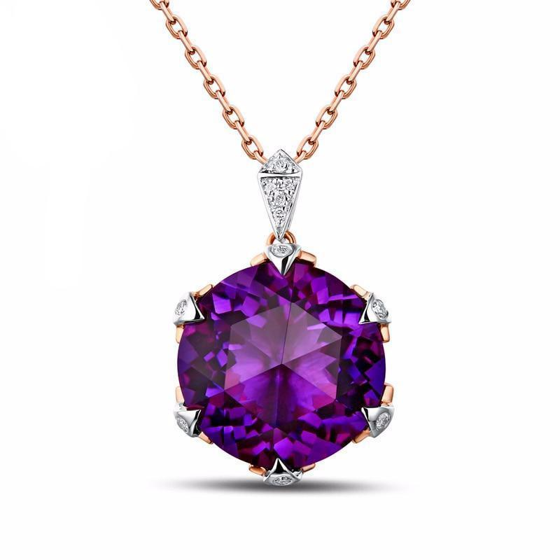 14K Rose Gold 6.71ct Natural Amethyst with Diamond - DÉCOR RARO