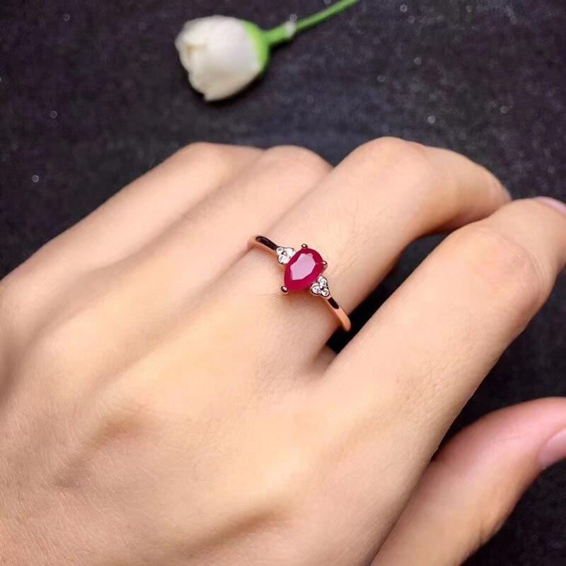 18k Rose Gold Plated Natural Ruby Water Drop Gem Ring With Sterling Silver - DÉCOR RARO