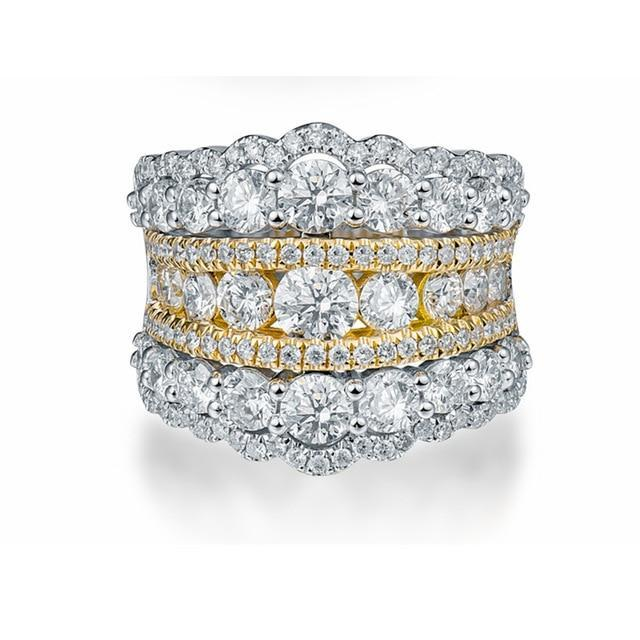 3.88ct Round-Cut Diamonds Band | With 18K Solid Gold - DÉCOR RARO
