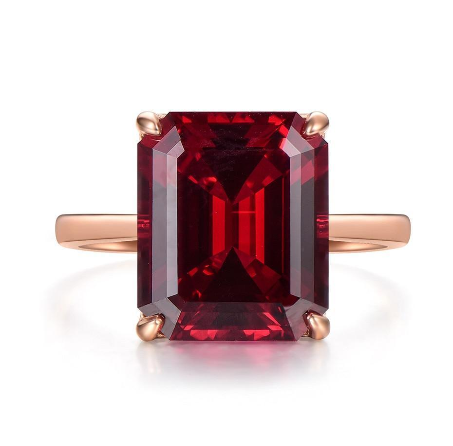 7.4ct Lab Grown Ruby Ring | With 10K Solid Gold - DÉCOR RARO