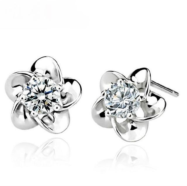 AAA CRYSTAL - FIVE LEAF FLOWER STERLING SILVER EARRINGS - DÉCOR RARO