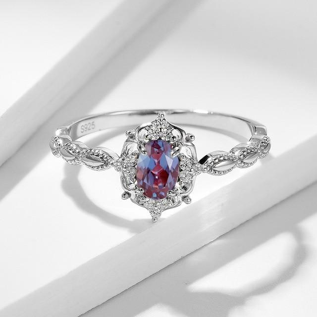 Alexandrite Gemstone Ring | Solid 925 Sterling Rose Gold Silver - DÉCOR RARO