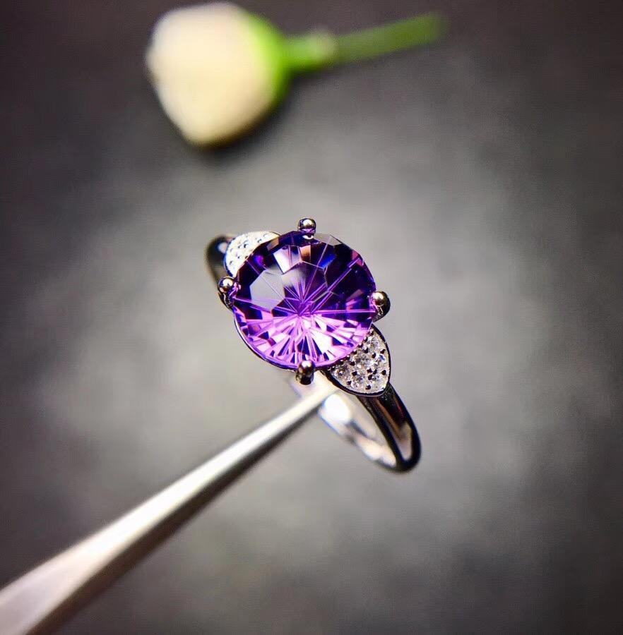 BRIGHT VIOLET AMETHYST STONE 925 STERLING SILVER RING - DÉCOR RARO