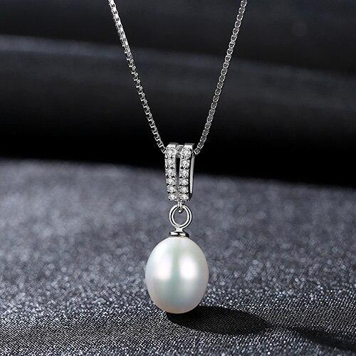 Chainlink Natural Freshwater Pearl Pendant - 925 Sterling Silver - DÉCOR RARO