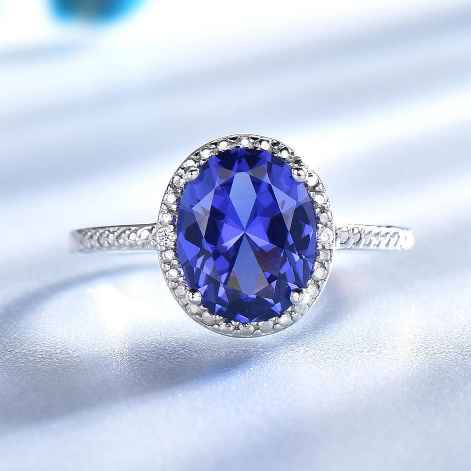 Elegant Navy Tanzanite Ring With Solid Sterling Silver - DÉCOR RARO