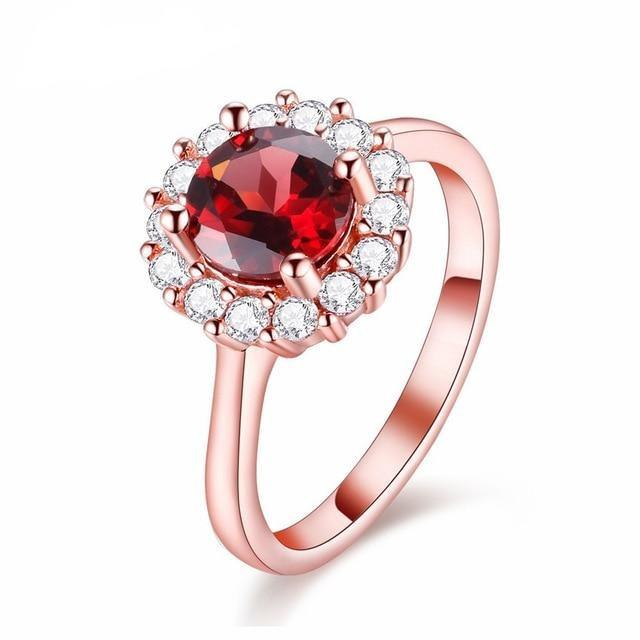 Flower Shiny Garnet Silver 925 Rhinestone Rose Gold Ring - DÉCOR RARO