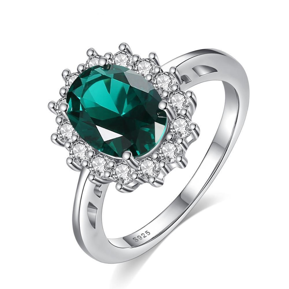 Lady Diana's Royal Engagement Emerald & Sterling Silver Ring - DÉCOR RARO