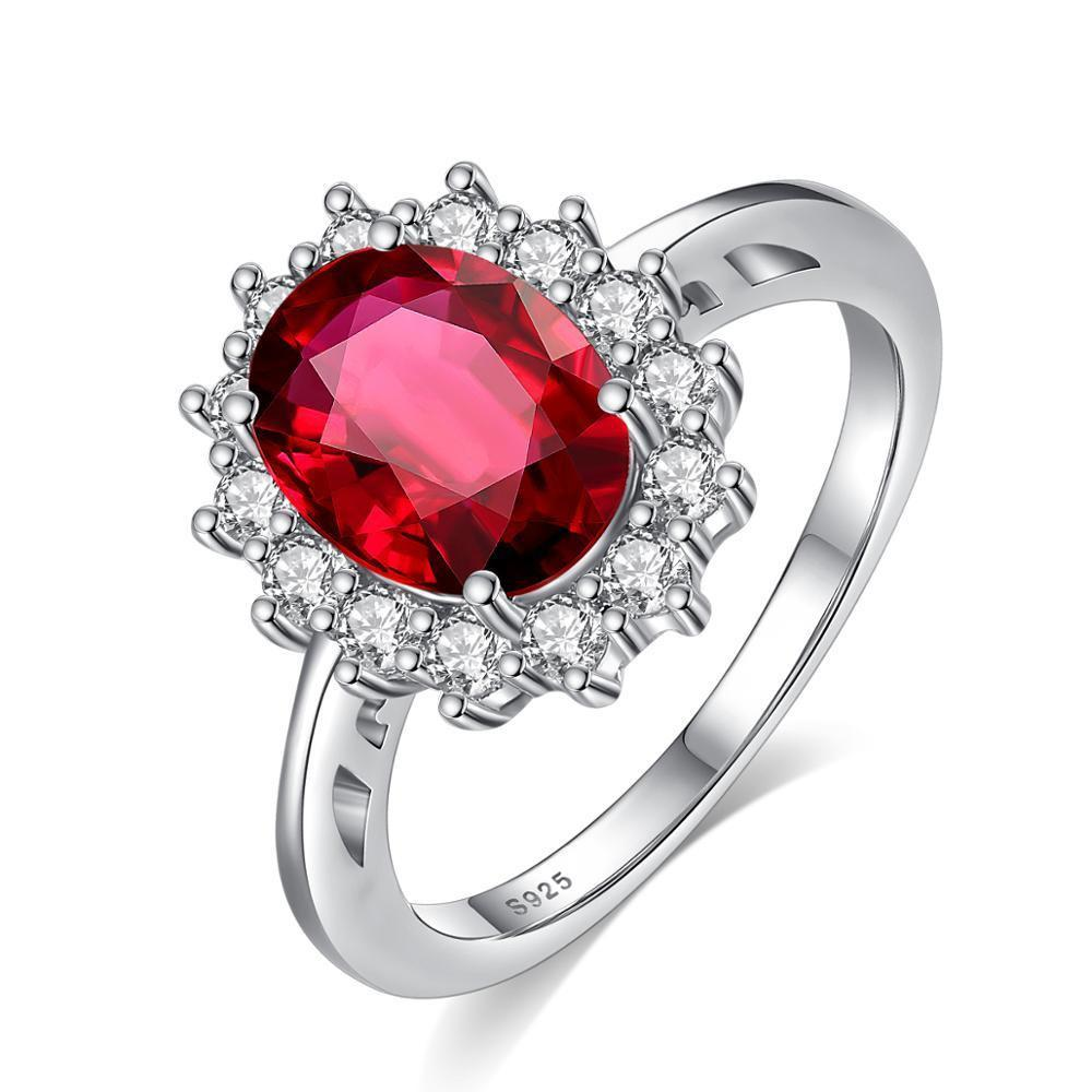 Lady Diana's Royal Engagement Ruby & Sterling Silver Ring - DÉCOR RARO