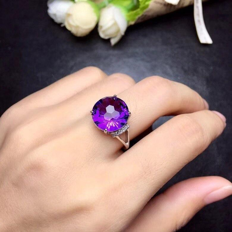 LARGE BRIGHT VIOLET AMETHYST STONE 925 STERLING SILVER RING - DÉCOR RARO