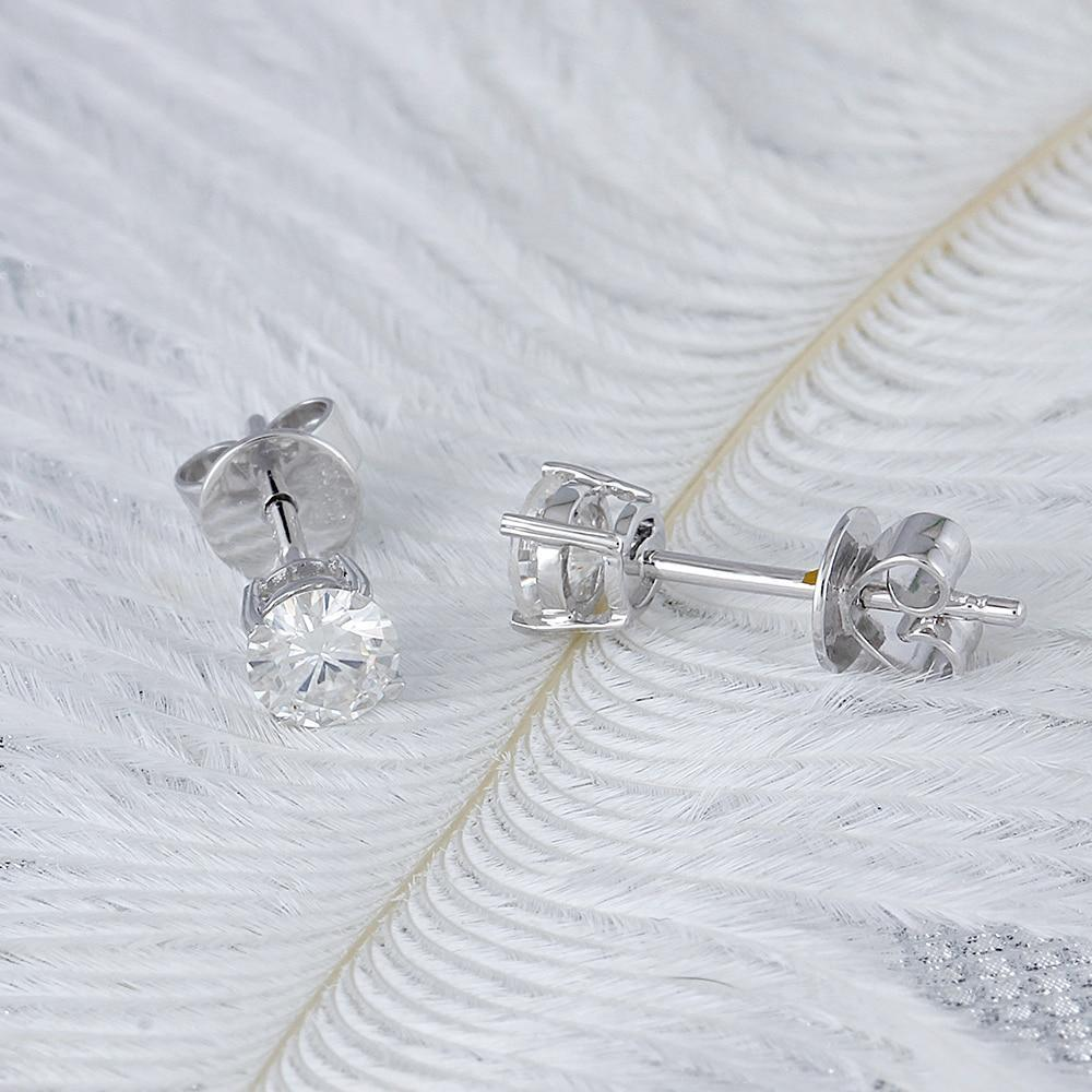 Moissanite Diamond Stud Earrings | With Genuine Solid 14K White Gold - DÉCOR RARO