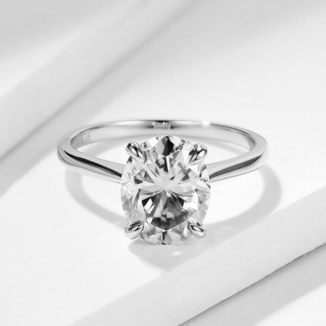 Moissanite Lab Diamond Solitaire Ring | 10K Solid White Gold - DÉCOR RARO