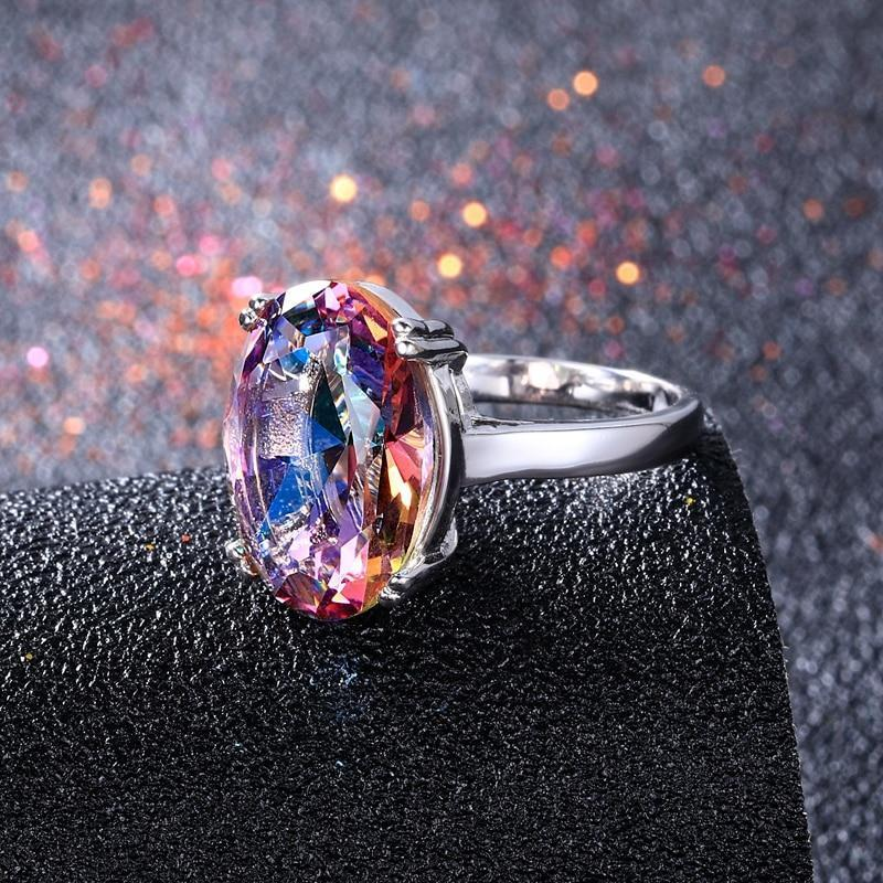 Mystic Fire Rainbow Topaz Ring 925 Sterling Silver - DÉCOR RARO