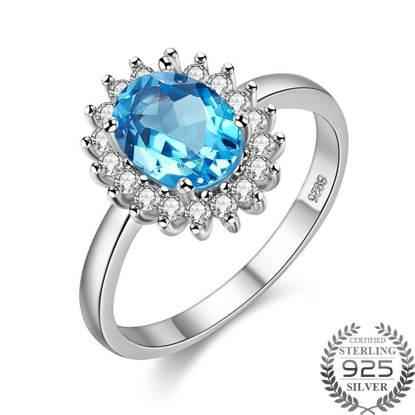 Natural Blue Topaz 925 Sterling Silver Ring - DÉCOR RARO