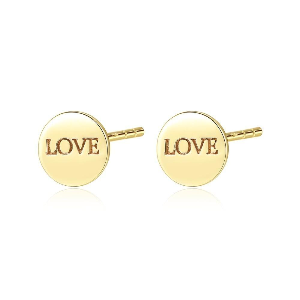 Real 14K Gold Love Letter Round Stud Earrings - DÉCOR RARO