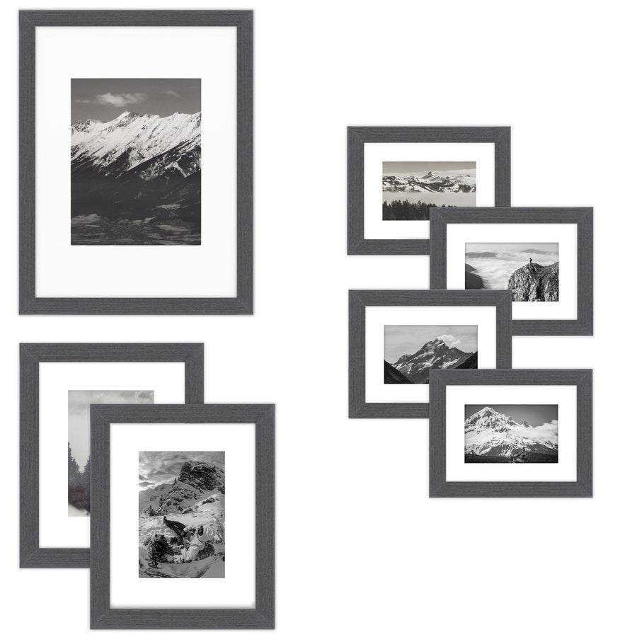 7 Piece Wall Frames Set - One 12x16, Two 8x10, Four 6x8, Barnwood Black Wood, Gallery Wall