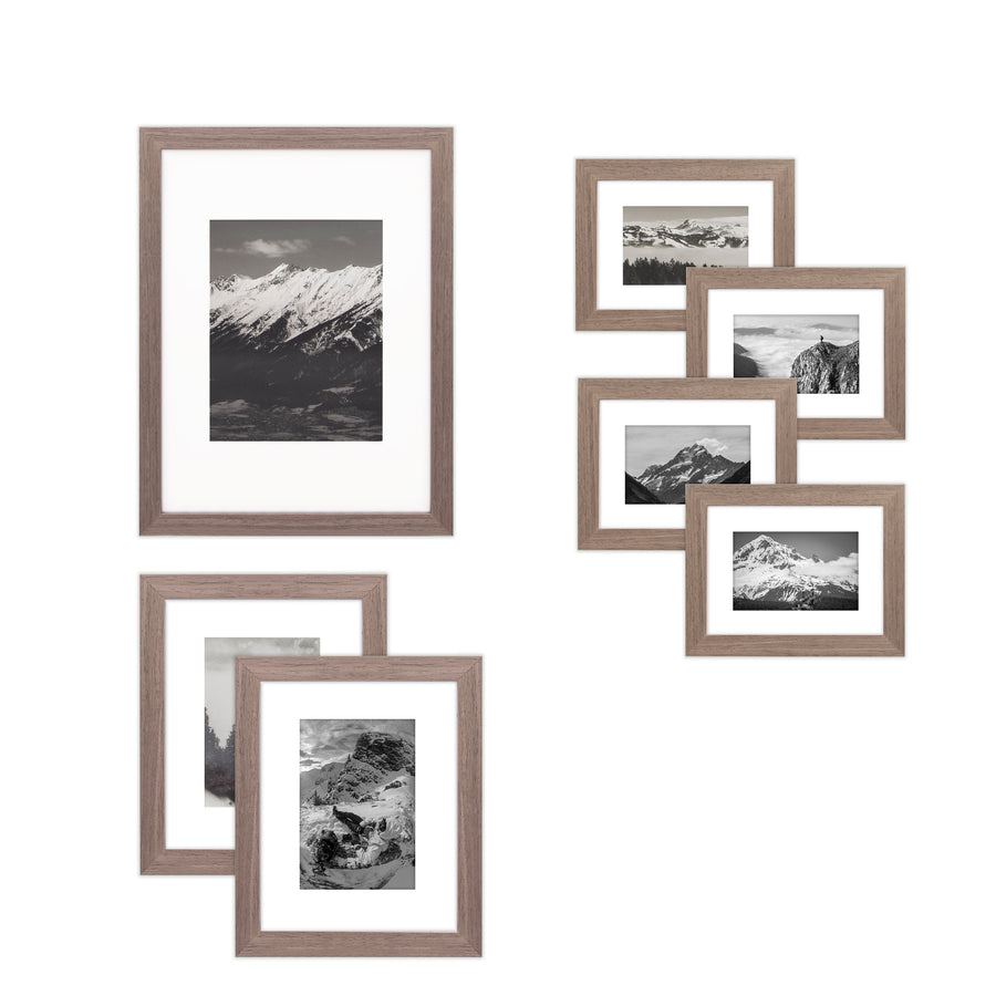 7 Piece Wall Frames Set - One 12x16, Two 8x10, Four 6x8, Barnwood Brown Wood, Gallery Wall