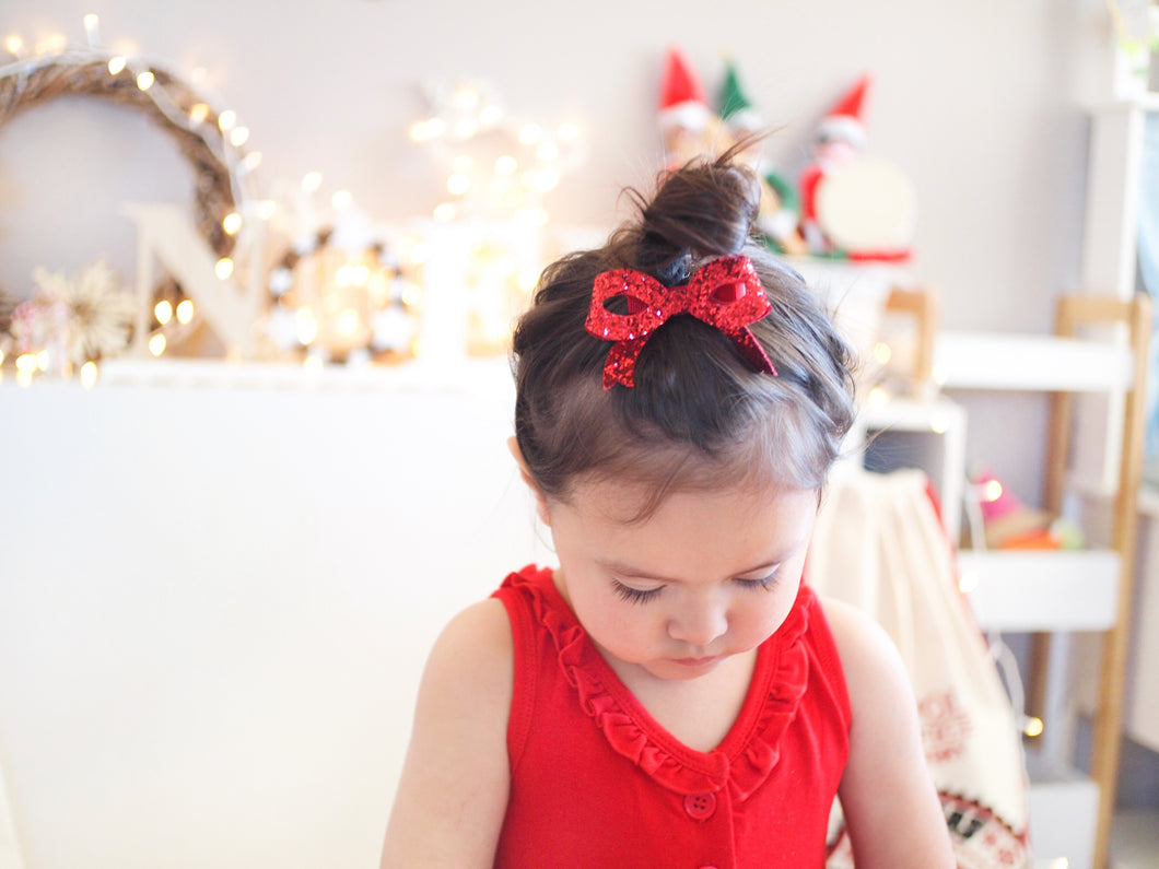 Bella Bow - Red Chunky Glitter