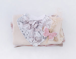 Flutter Butterfly - White & Peach Sparkle
