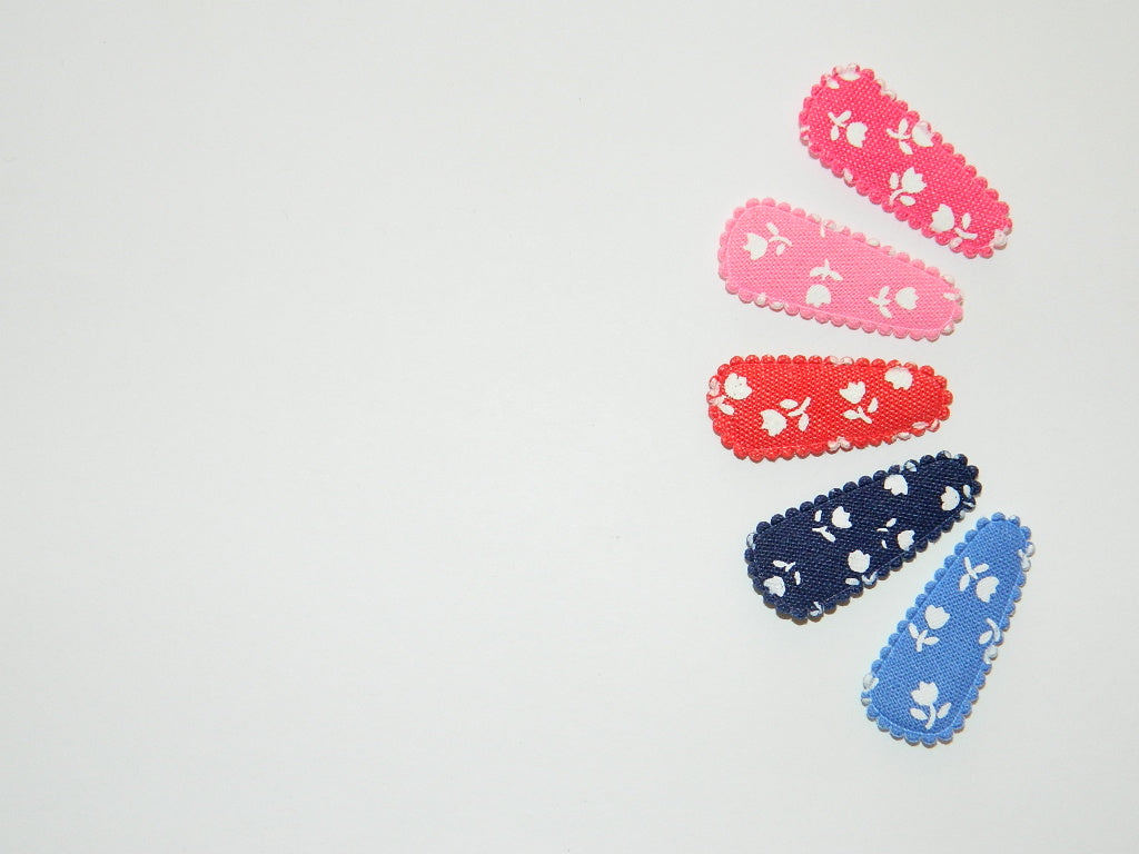 Baby Hair Clips- Denim Floral
