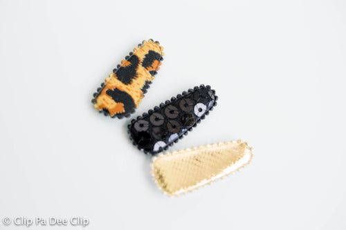 Baby Snap Hair Clips - Gold, Black & Leopard Print