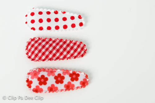 Baby Snap Hair Clips- Red Floral, Dots & Gingham Print