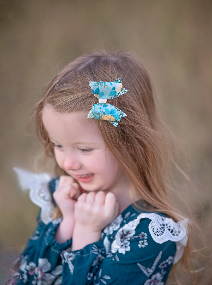 Blue & Mustard Floral Glitter Bow