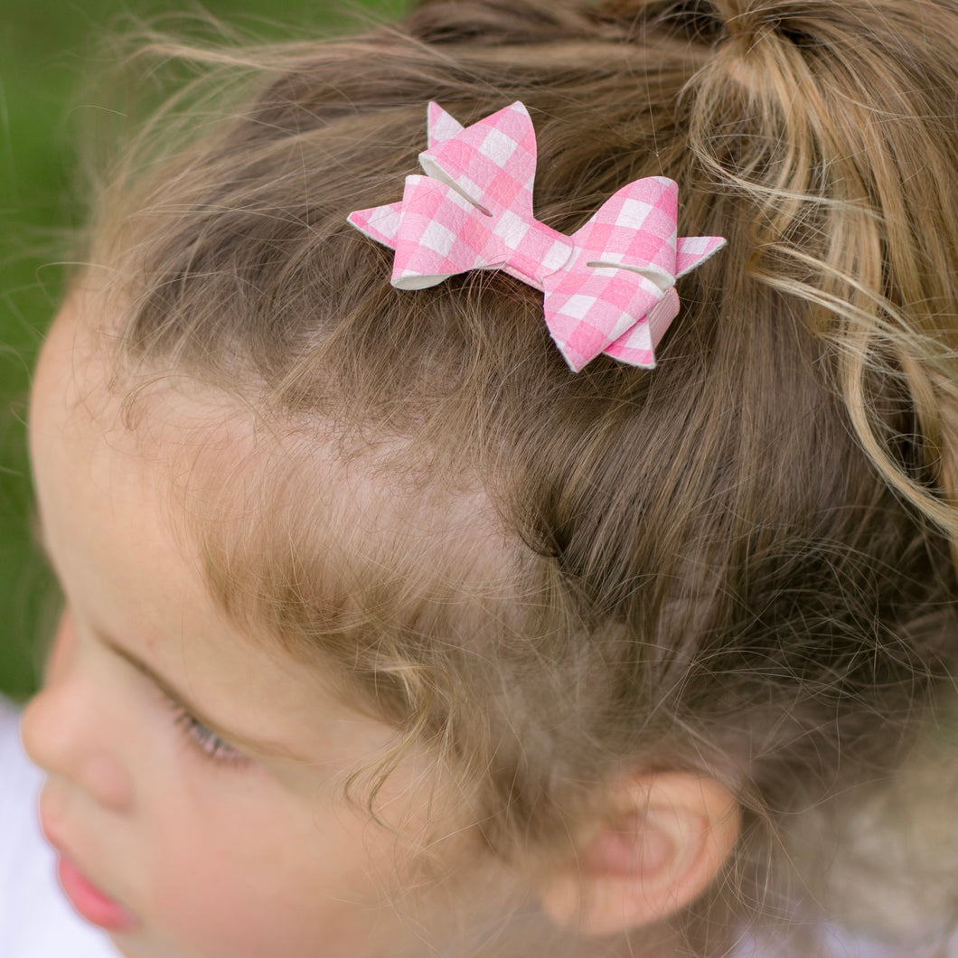 Luella Bow (Small) - Pink Gingham