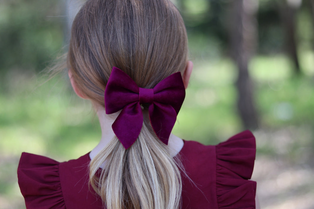 Sailor Bow (Large) - Plum Velvet
