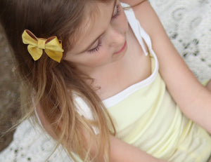 Sailor Bow (Small) - Mustard Velvet