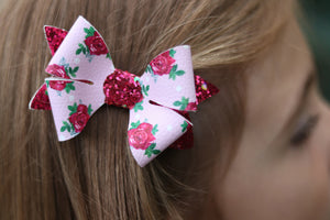 Luella Bow (Large) - Pink Floral