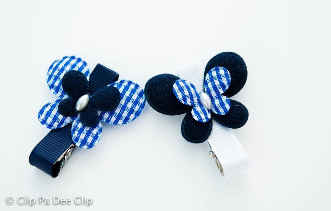Embellished - Navy Blue Gingham Butterflies