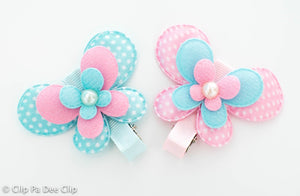 Embellished - Blue & Pink Large Butterflies