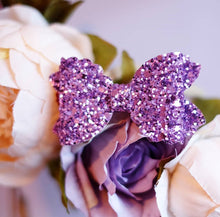 Violet Bow (Large)- Purple Chunky Glitter
