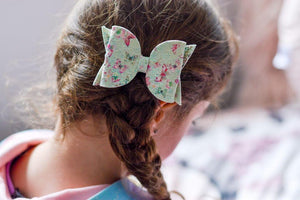 Maeve Bow - Green & Pink Butterfly Lace Glitter