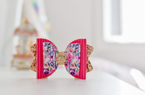 Sadie Bow (Large) - Pink, Purple & Gold Floral (Hair Clip Only)