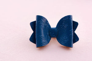Sadie Bow (Small) - Navy Blue Embossed Flower
