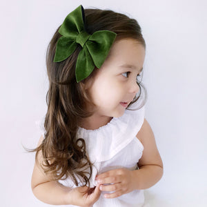 Sailor Bow (Large) - Olive Green Velvet