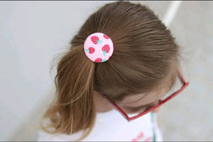 Large Button Hair Tie- Strawberry Bliss