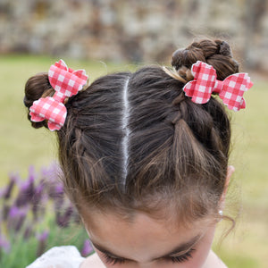 Violet Bow Hair Clip (Small)- Red Gingham Matching Pair