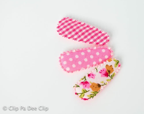 Baby Snap Hair Clips- Pink Dots, Gingham & Floral Print